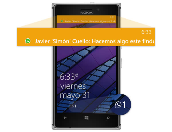 Uso de notificaciones de Whatsapp en Windows Phone