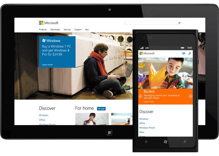 Una tableta y un móvil con la web de Microsoft adaptándose al contenedor