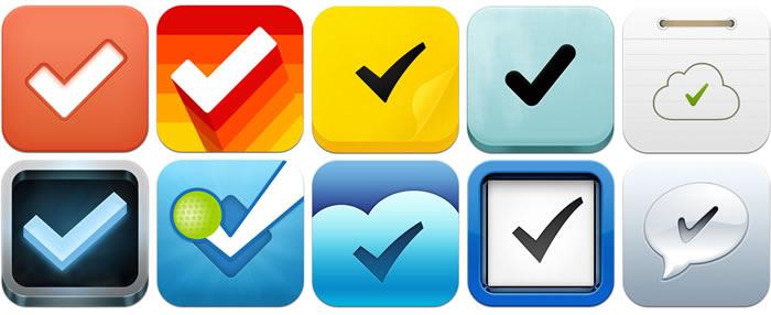 Íconos de lanzamiento de las apps Cheddar, Clear, MindsLite, ToDoPro, ListBook, Mussedo, Fousquare, Flow, Things y Kickoff
