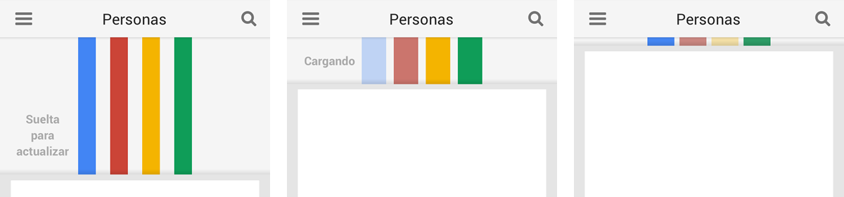 Google+ muestra unas bandas de color que se estiran mientras se arrastra para actualizar los contenidos